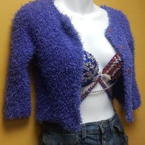 Sweaters - Deep purple crop sweater